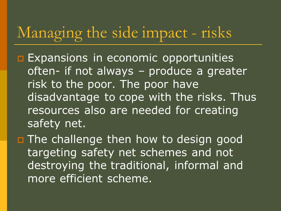 Managing the side impact - risks