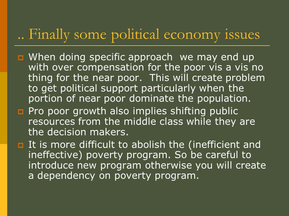 .. Finally some political economy issues