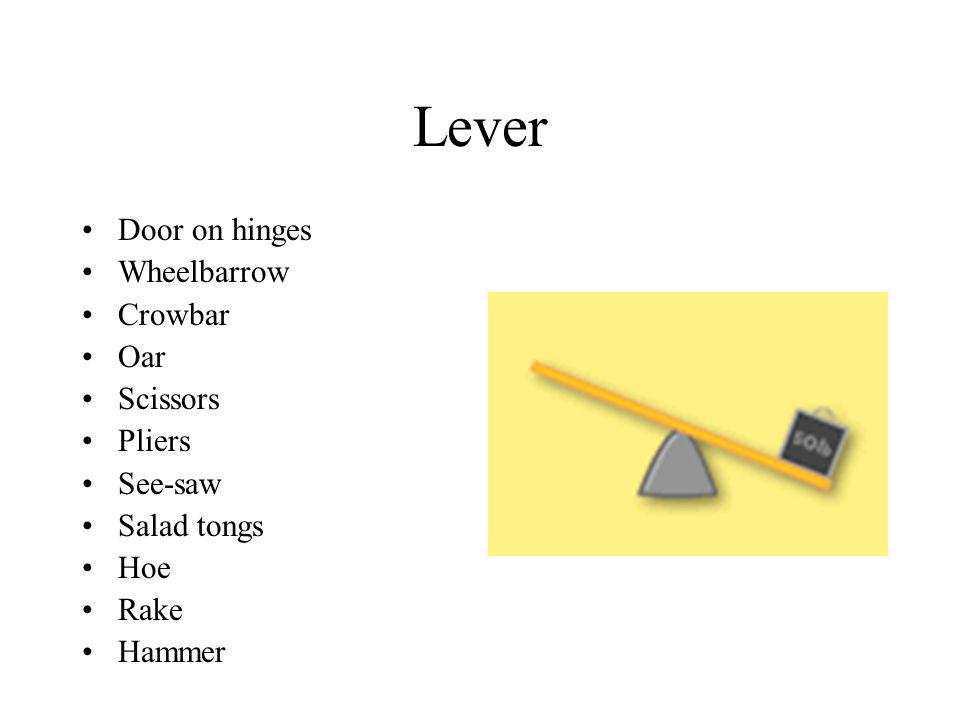Lever Door on hinges Wheelbarrow Crowbar Oar Scissors Pliers See-saw