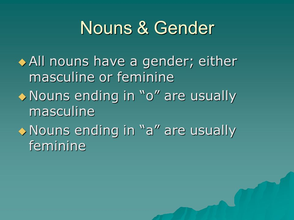 Nouns & Gender All nouns have a gender; either masculine or feminine