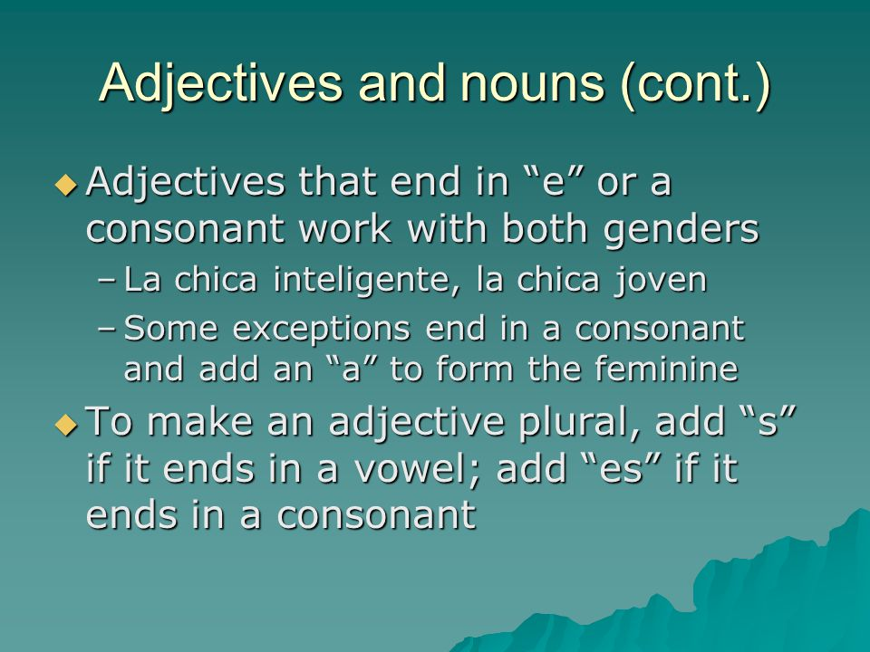 Adjectives and nouns (cont.)