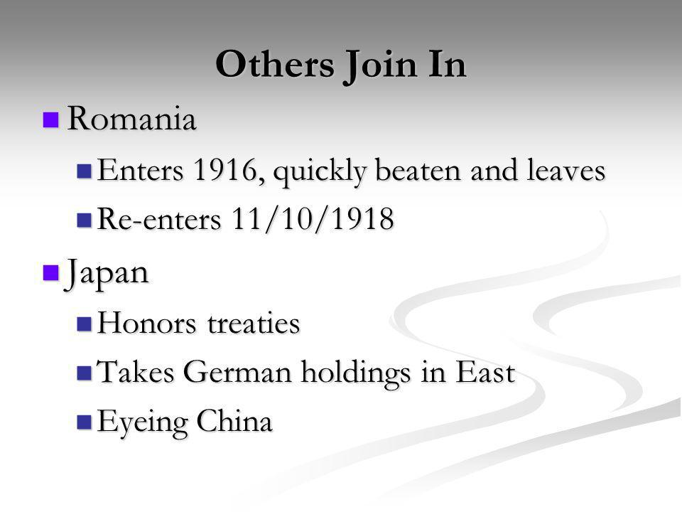 Others Join In Romania Japan Enters 1916, quickly beaten and leaves