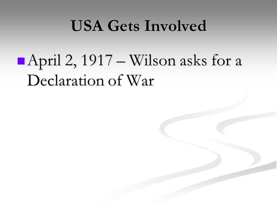 USA Gets Involved April 2, 1917 – Wilson asks for a Declaration of War
