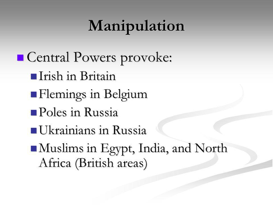 Manipulation Central Powers provoke: Irish in Britain