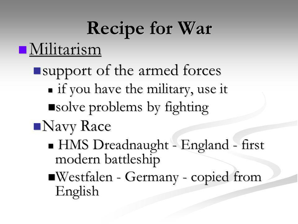 Recipe for War Militarism support of the armed forces Navy Race
