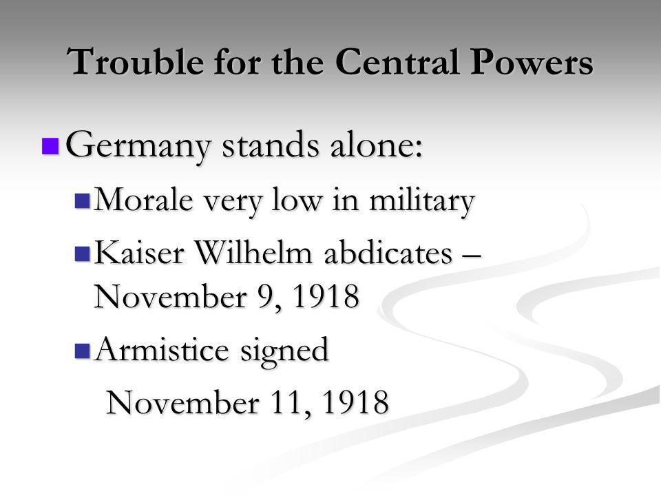 Trouble for the Central Powers