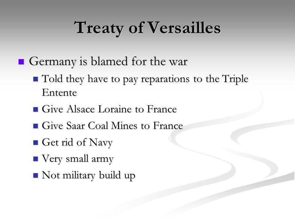 Treaty of Versailles Germany is blamed for the war
