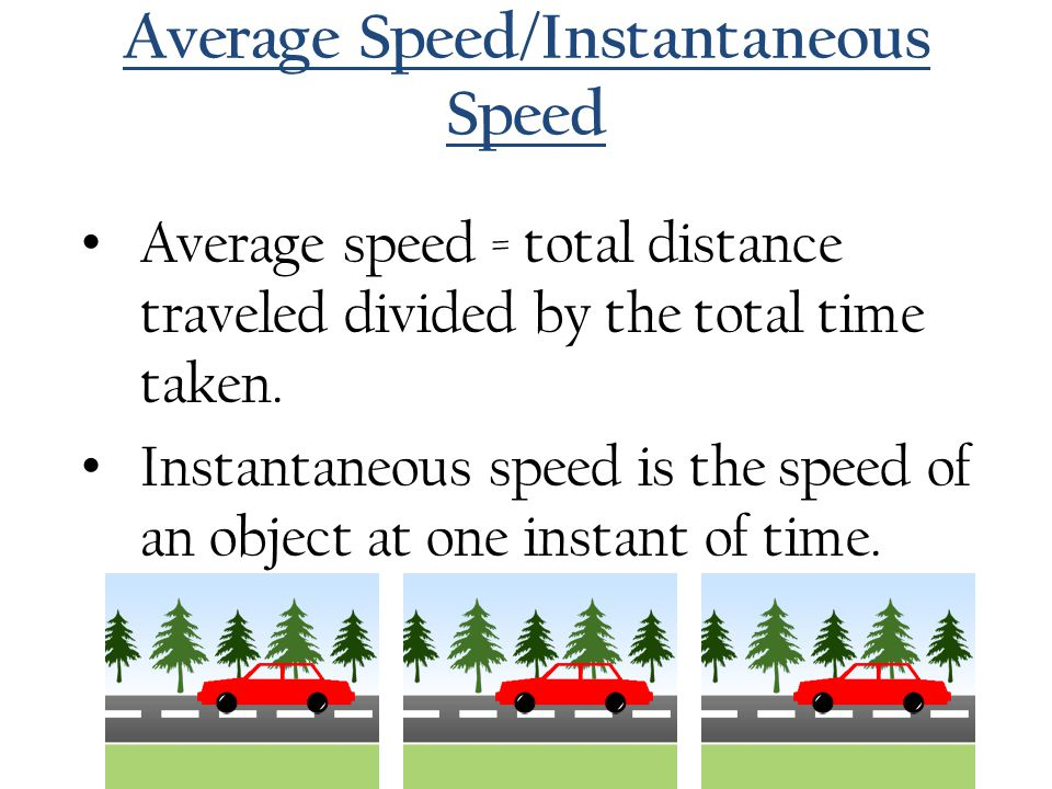 Average Speed/Instantaneous Speed