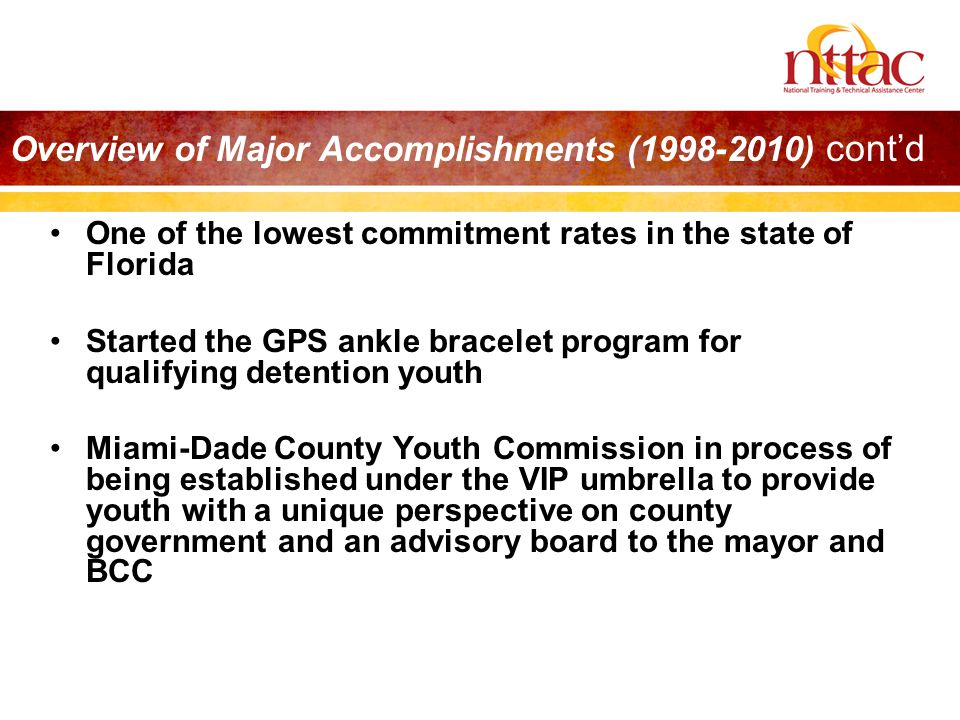 Overview of Major Accomplishments (1998-2010) cont'd