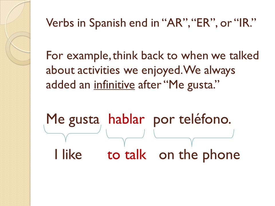 Verbs in Spanish end in AR , ER , or IR