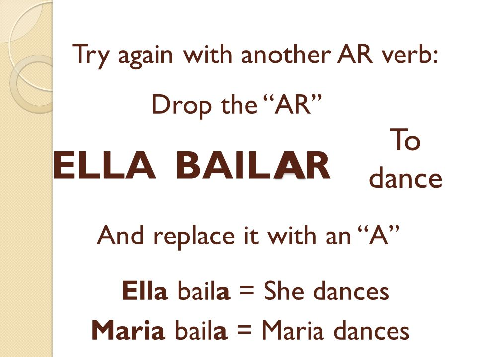 Try again with another AR verb: