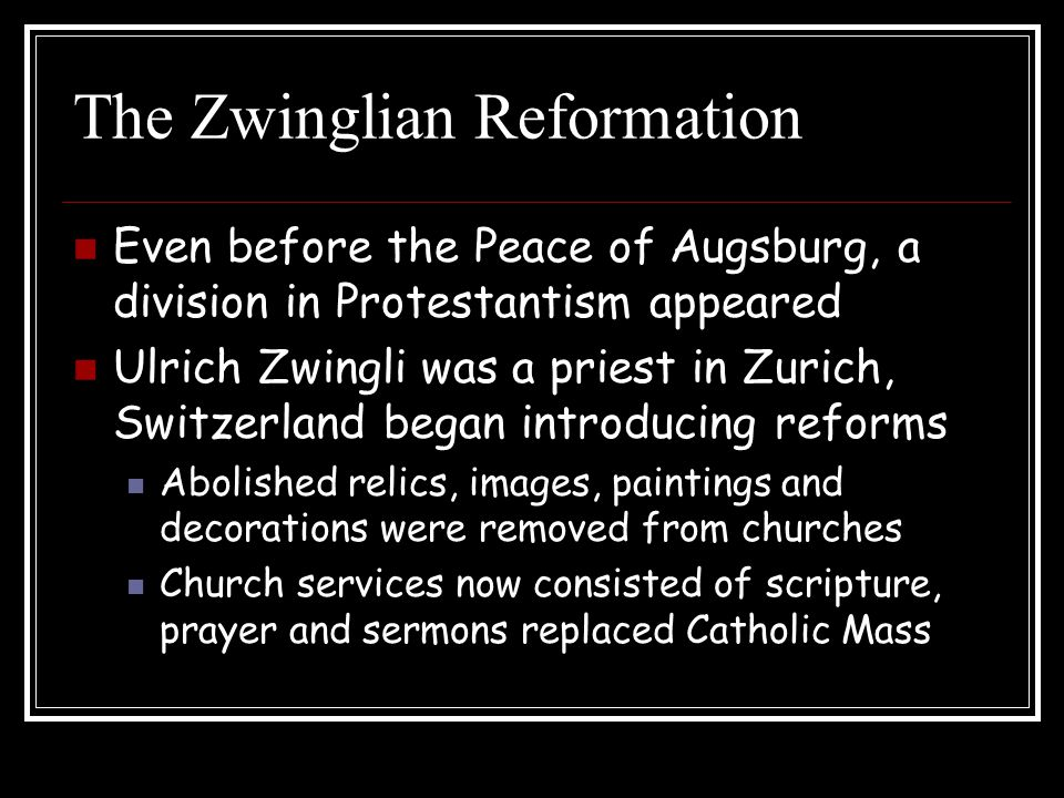 The Zwinglian Reformation