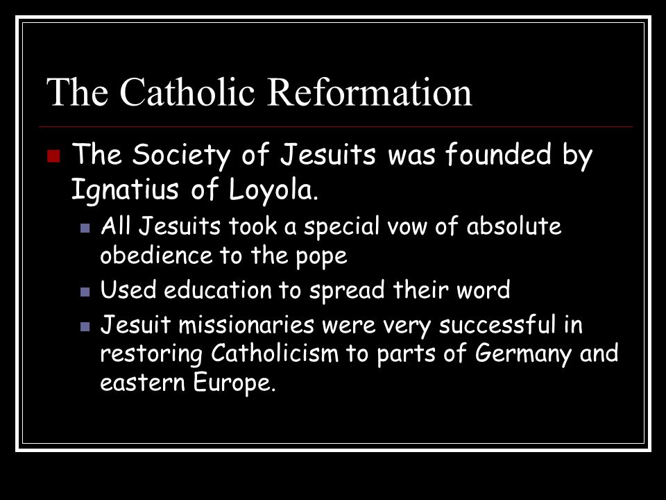 catholic reformation outline Learn about the catholic response to the protestant reformation.