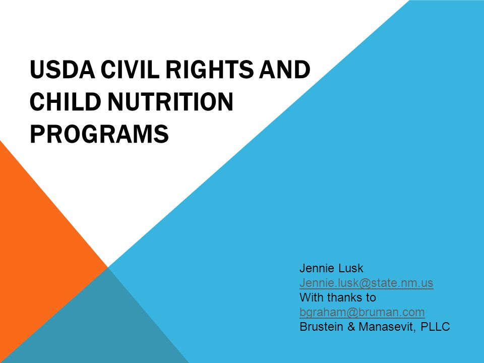 USDA Civil Rights and Child Nutrition Programs