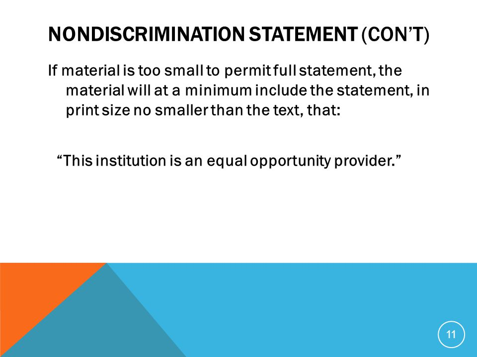 Nondiscrimination Statement (con't)