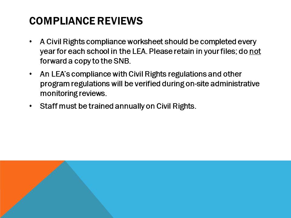 Compliance reviews