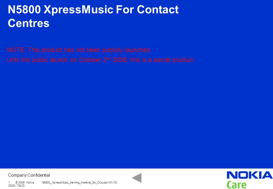 N5800 XpressMusic For Contact Centres