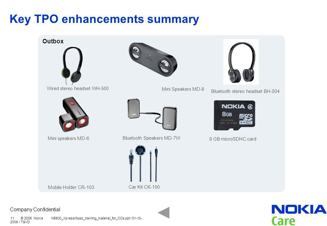 Key TPO enhancements summary