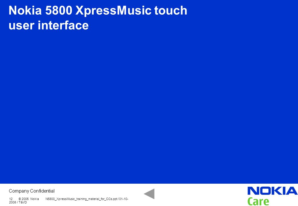 Nokia 5800 XpressMusic touch user interface