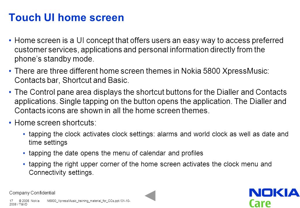 Touch UI home screen