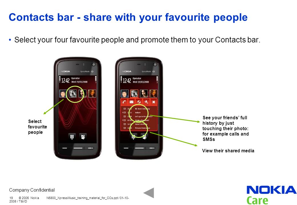Contacts bar - share with your favourite people
