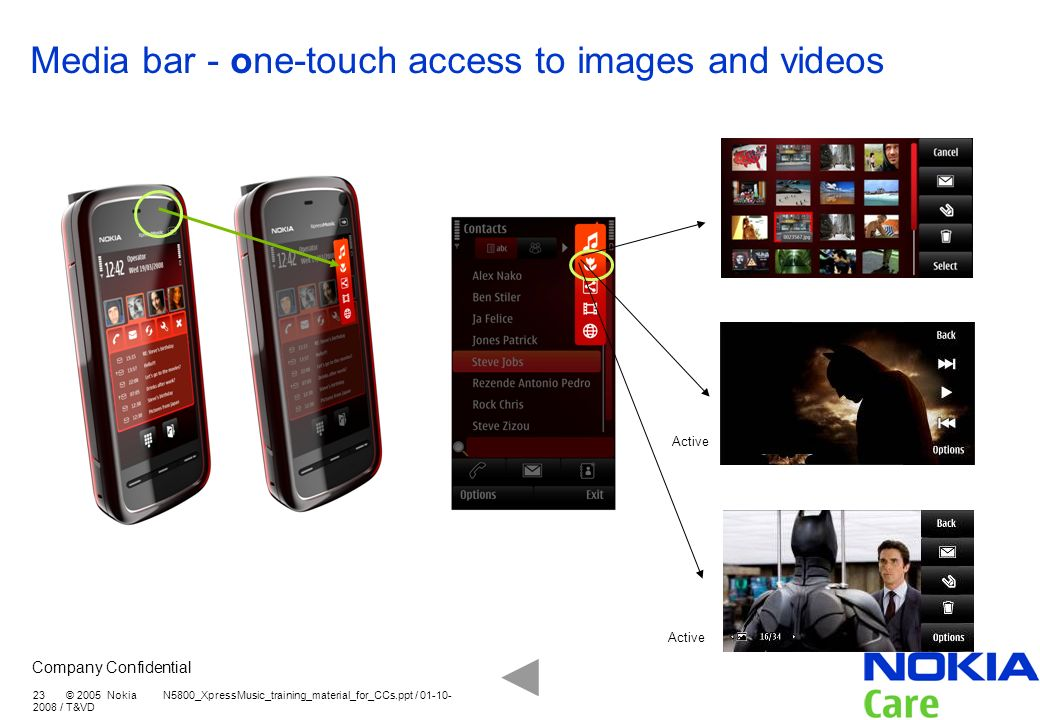 Media bar - one-touch access to images and videos