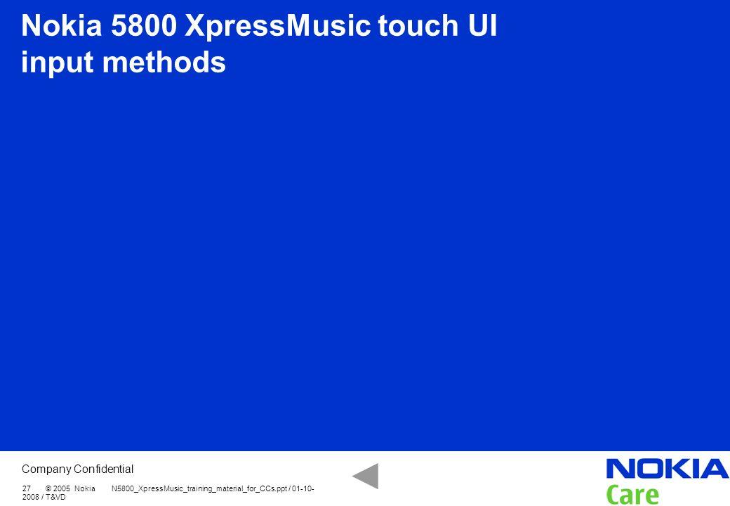 Nokia 5800 XpressMusic touch UI input methods