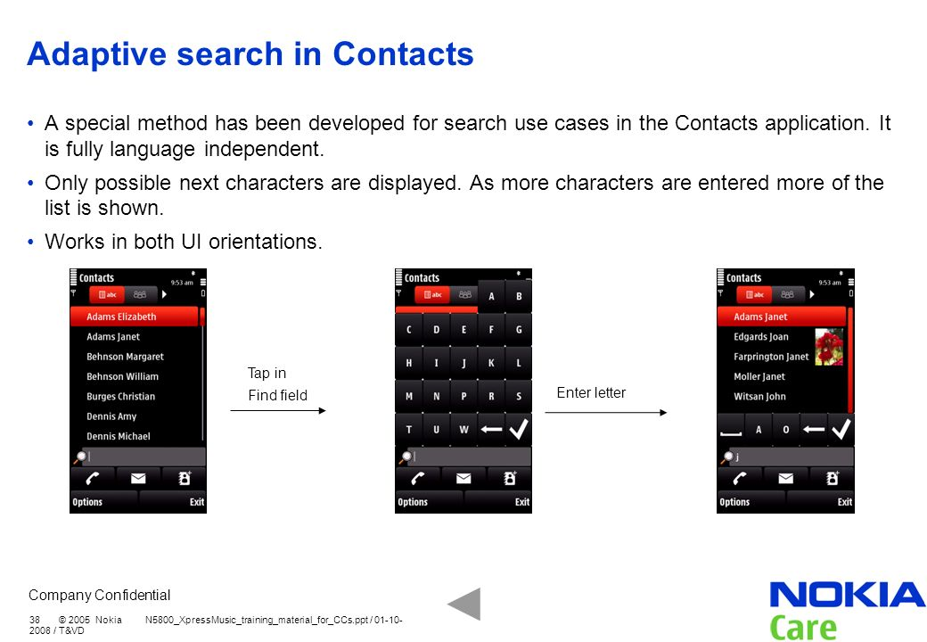 Adaptive search in Contacts