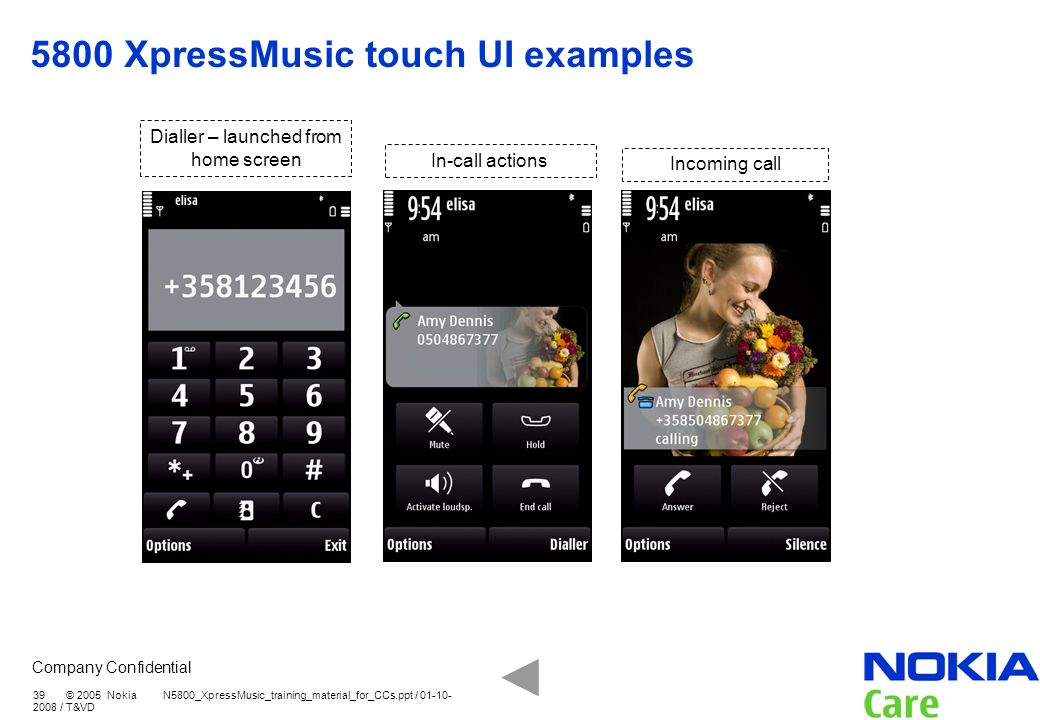 5800 XpressMusic touch UI examples