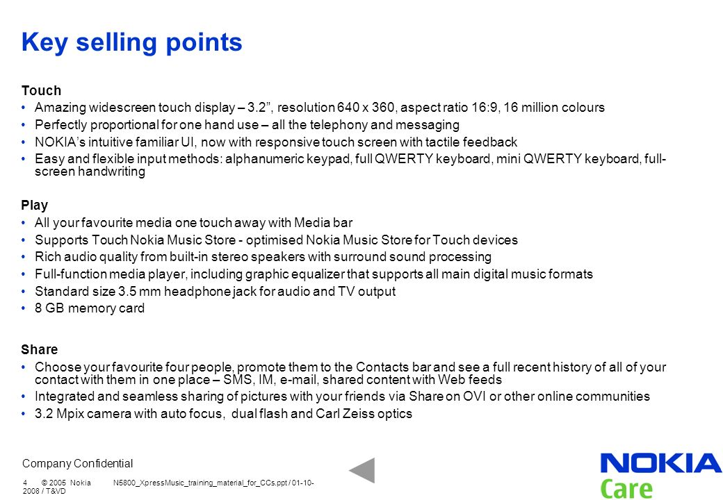 Key selling points Touch