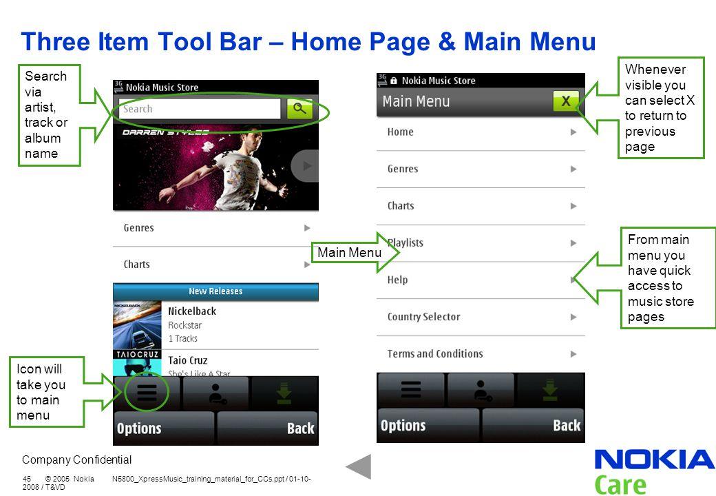 Three Item Tool Bar – Home Page & Main Menu