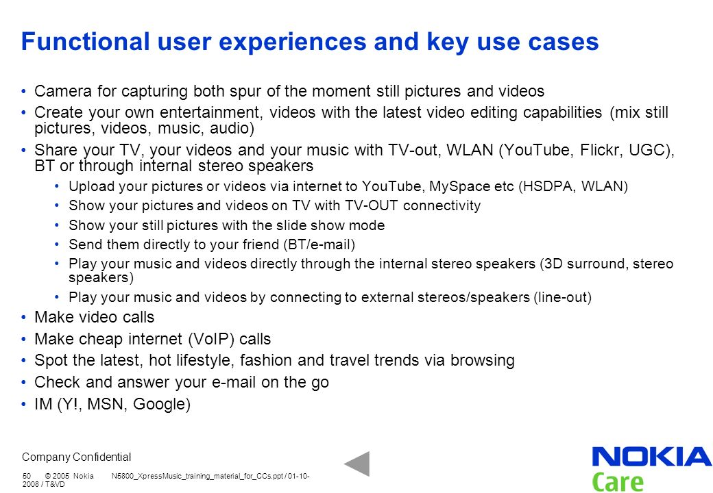 Functional user experiences and key use cases