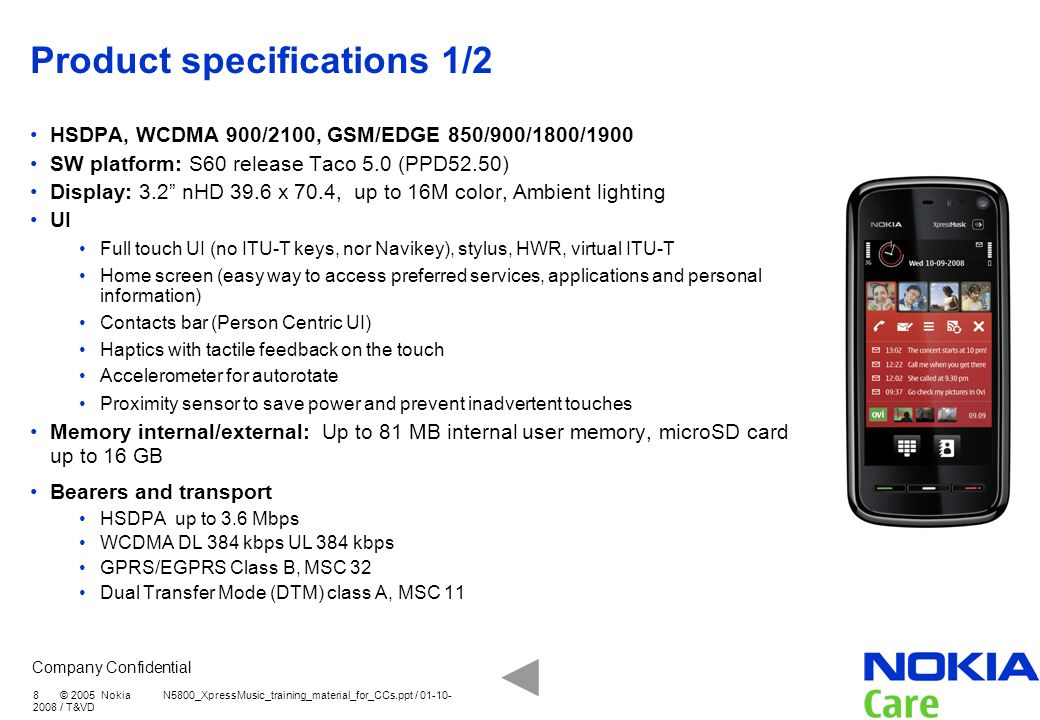 Product specifications 1/2