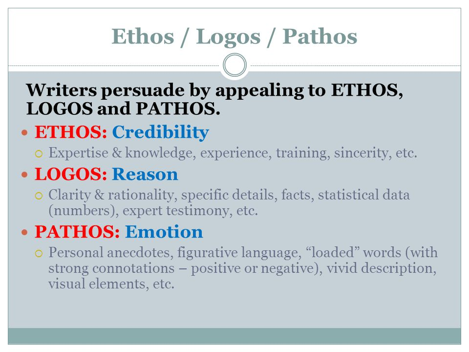 Ethos / Logos / Pathos Writers persuade by appealing to ETHOS, LOGOS and PATHOS. ETHOS: Credibility.