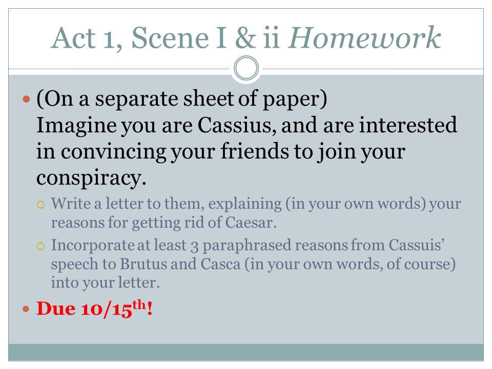 Act 1, Scene I & ii Homework