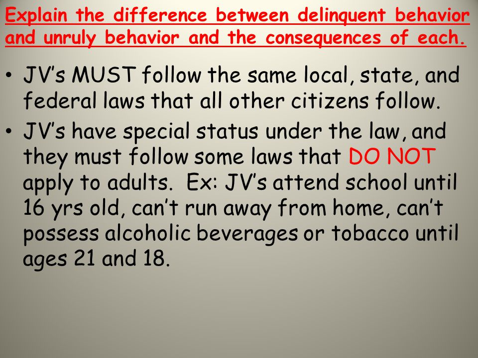 Explain the difference between delinquent behavior and unruly behavior and the consequences of each.