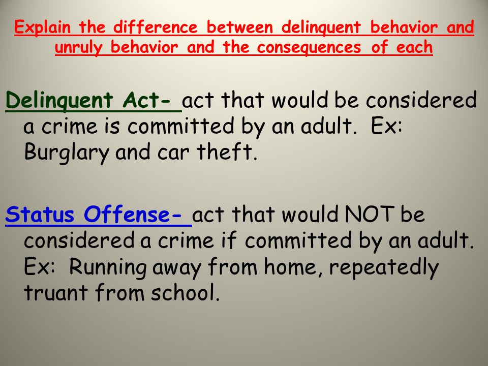 Explain the difference between delinquent behavior and unruly behavior and the consequences of each