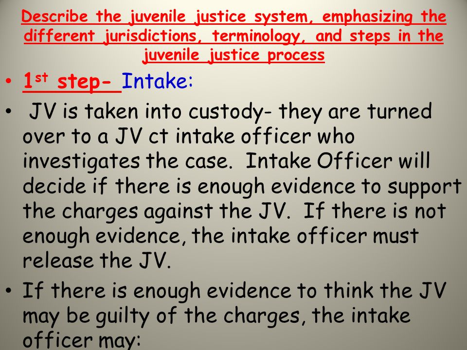 Describe the juvenile justice system, emphasizing the different jurisdictions, terminology, and steps in the juvenile justice process