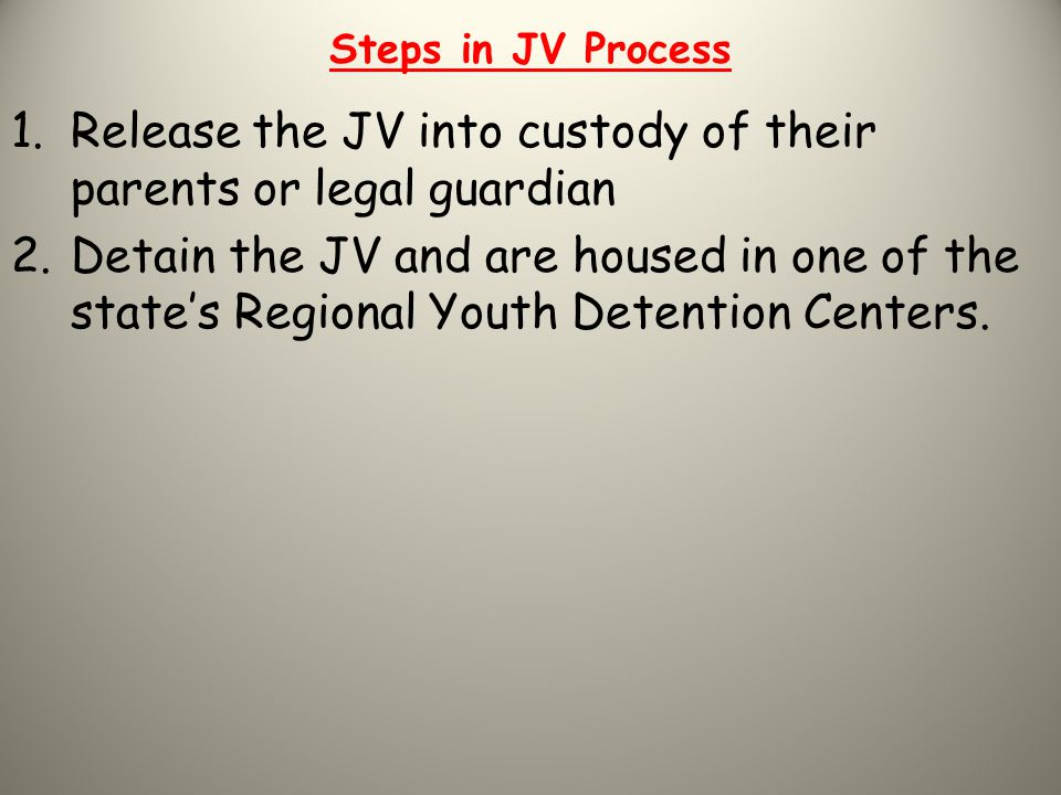 Release the JV into custody of their parents or legal guardian