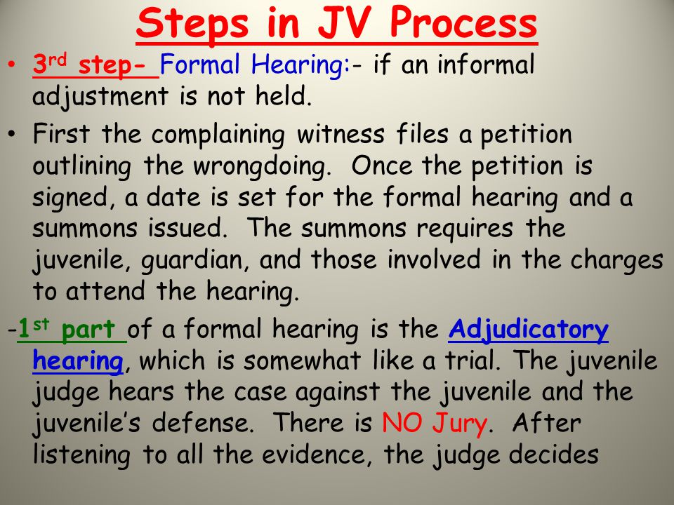 Steps in JV Process 3rd step- Formal Hearing:- if an informal adjustment is not held.