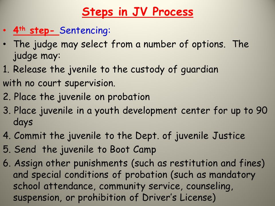 Steps in JV Process 4th step- Sentencing:
