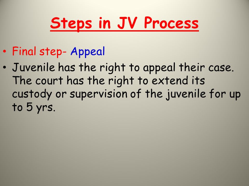 Steps in JV Process Final step- Appeal