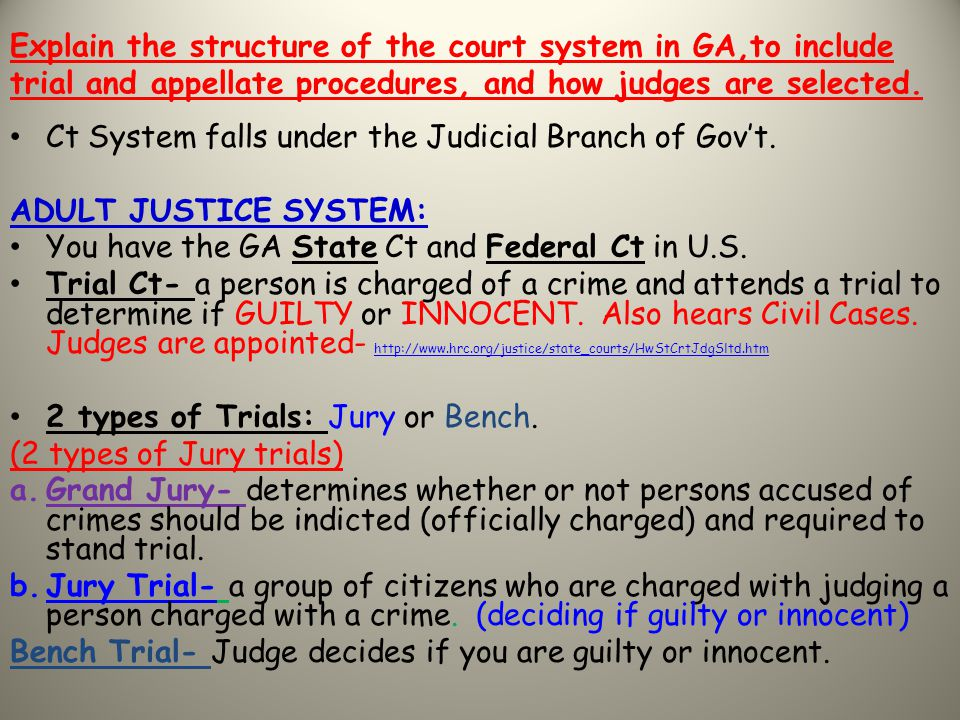 Explain the structure of the court system in GA,to include trial and appellate procedures, and how judges are selected.