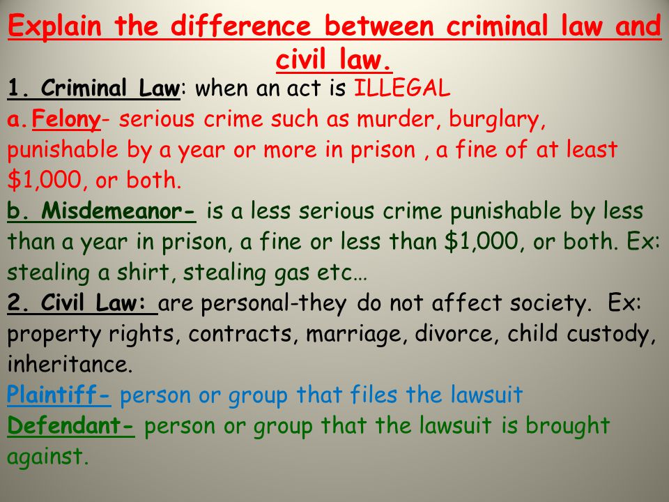 Explain the difference between criminal law and civil law.
