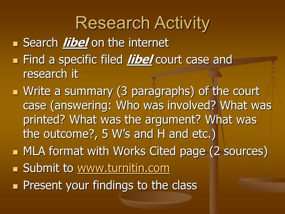 Research Activity Search libel on the internet