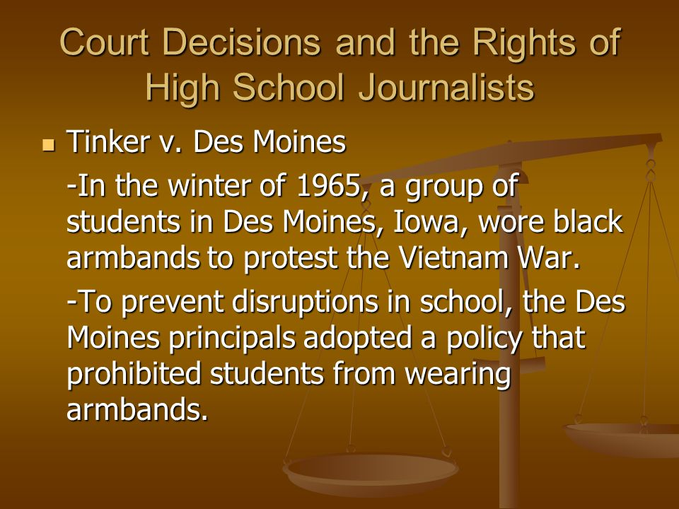 Court Decisions and the Rights of High School Journalists