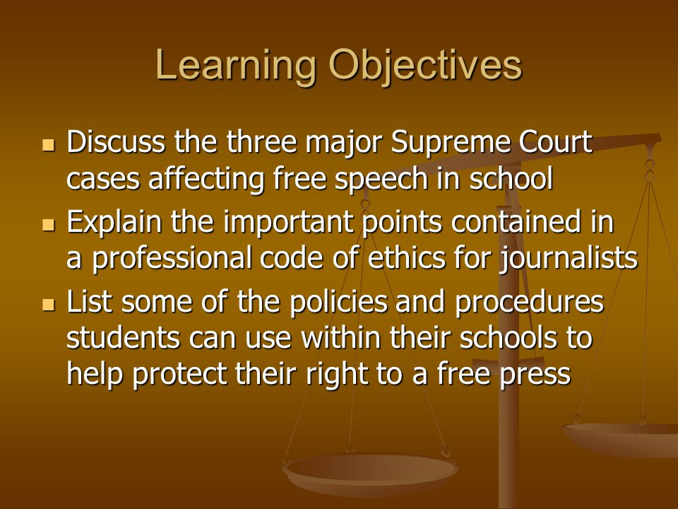 Learning Objectives Discuss the three major Supreme Court cases affecting free speech in school.