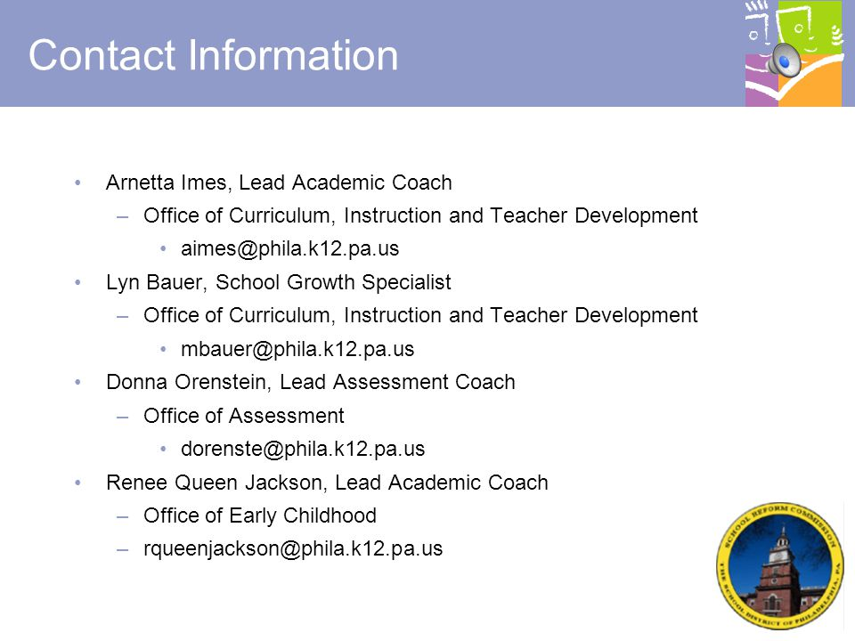 Contact Information Arnetta Imes, Lead Academic Coach. Office of Curriculum, Instruction and Teacher Development.
