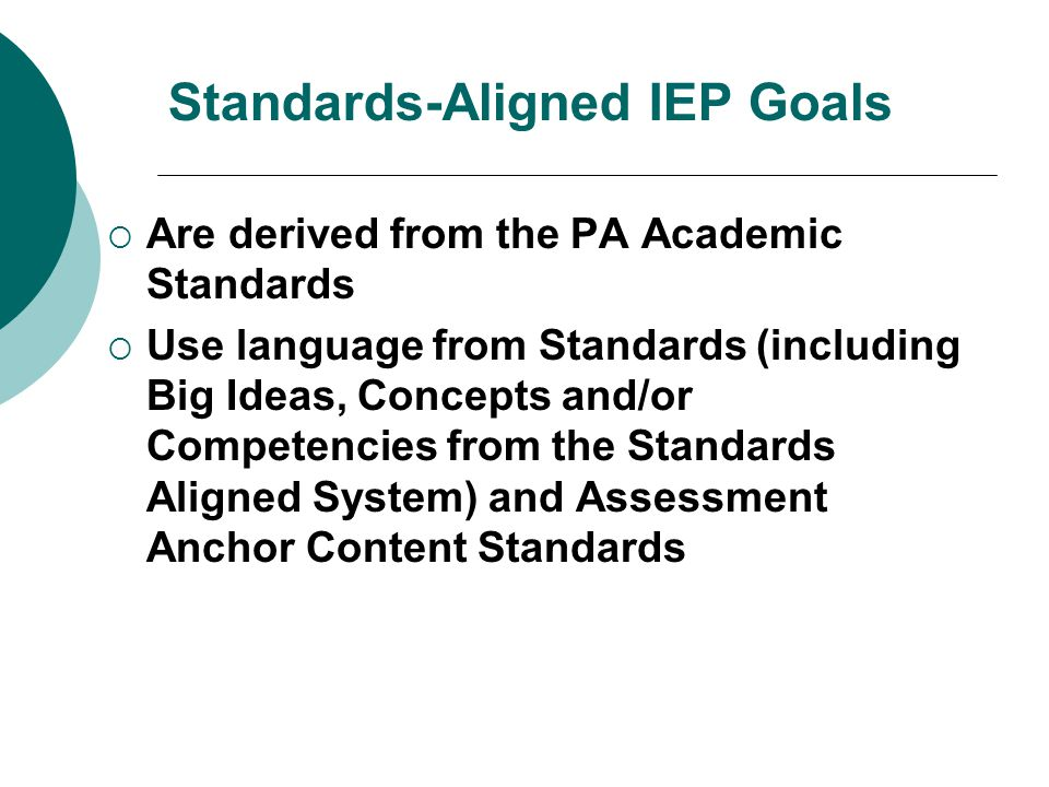 Standards-Aligned IEP Goals