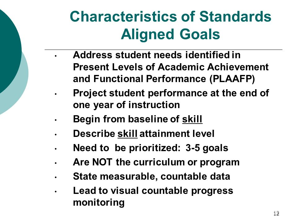 Characteristics of Standards Aligned Goals